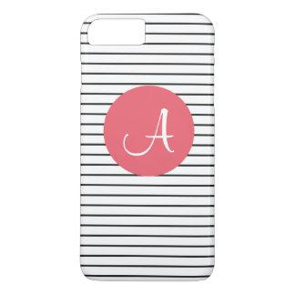 Funda Para iPhone 8 Plus/7 Plus Rosa blanco del negro único del monograma rayado
