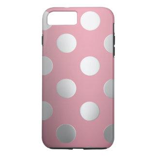 Funda Para iPhone 8 Plus/7 Plus Rosa, lunares de plata