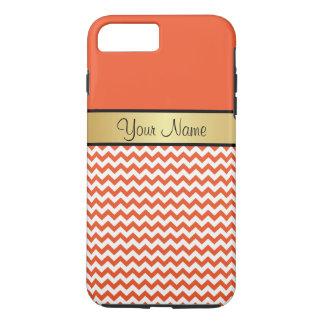 Funda Para iPhone 8 Plus/7 Plus Tango Chevron blanco anaranjado de la mandarina