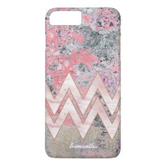 Funda Para iPhone 8 Plus/7 Plus Textura abstracta rosada con los galones y nombre