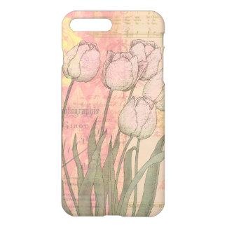 Funda Para iPhone 8 Plus/7 Plus Tulipanes del vintage en fondo floral