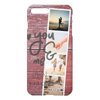 Funda Para iPhone 8 Plus/7 Plus Usted y yo. Collage de la foto de memorias. Madera