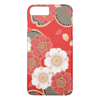 Funda Para iPhone 8 Plus/7 Plus Vector blanco rojo floral retro del vintage lindo