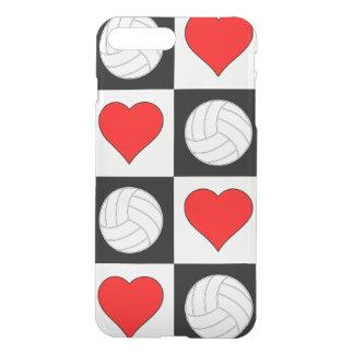 Funda Para iPhone 8 Plus/7 Plus Voleiboles y caja a cuadros del corazón negro y