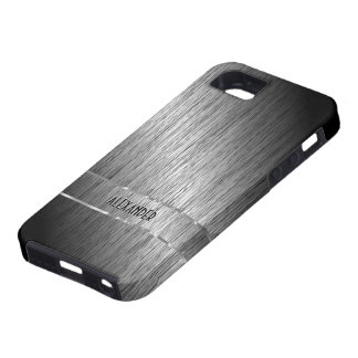 Funda Para iPhone SE/5/5s Acero cepillado gris oscuro metálico - monograma