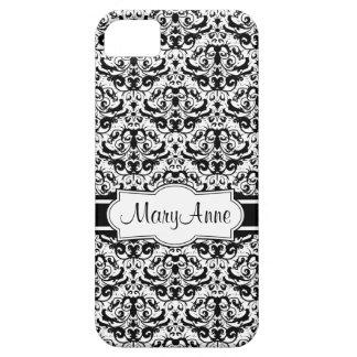 Funda Para iPhone SE/5/5s Añada su damasco blanco y negro elegante conocido