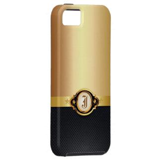 Funda Para iPhone SE/5/5s Caso metálico del iPhone 5 del oro de cuero oscuro