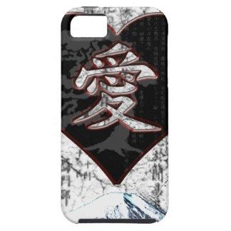 Funda Para iPhone SE/5/5s Corazón de Fuji - amor del kanji - negro y rojo