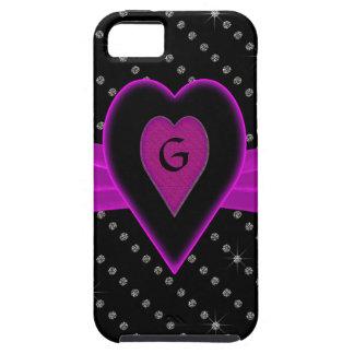 Funda Para iPhone SE/5/5s Corazón y cinta, diamantes de las rosas fuertes