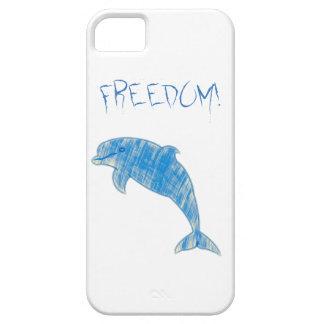 """Funda Para iPhone SE/5/5s Delfín azul del vintage con la """"libertad!"""" texto"""