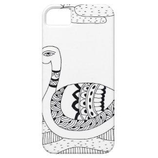 Funda Para iPhone SE/5/5s Doodle blanco y negro del cisne