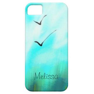 Funda Para iPhone SE/5/5s Dos pájaros del verano que vuelan la acuarela azul