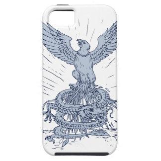 Funda Para iPhone SE/5/5s Eagle y dibujo de las montañas del dragón