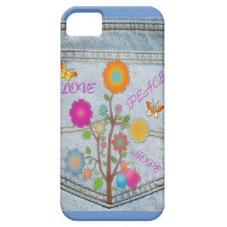 Funda Para iPhone SE/5/5s El bolsillo trasero del dril de algodón florece