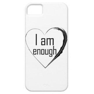 Funda Para iPhone SE/5/5s el negro emplumó el corazón 'que soy enough