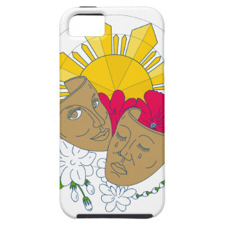 Funda Para iPhone SE/5/5s Flujo filipino de Sampaguita del hibisco de Sun de