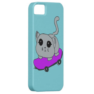 Funda Para iPhone SE/5/5s gato del monopatín, caso azul claro de Iphone 5
