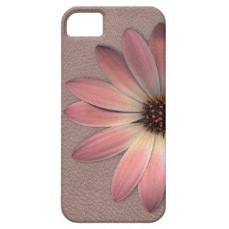 Funda Para iPhone SE/5/5s Margarita rosada en la impresión de cuero de color