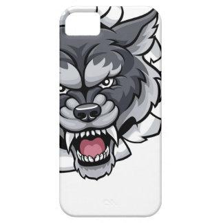 Funda Para iPhone SE/5/5s Mascota del fútbol americano del lobo que rompe el