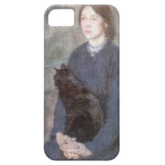 Funda Para iPhone SE/5/5s Mujer joven que sostiene un gato negro - Gwen John
