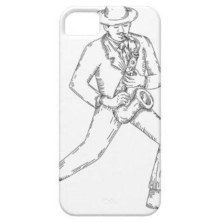 Funda Para iPhone SE/5/5s Músico de jazz que toca el saxofón Monoline