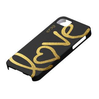 Funda Para iPhone SE/5/5s Negro y amor del oro