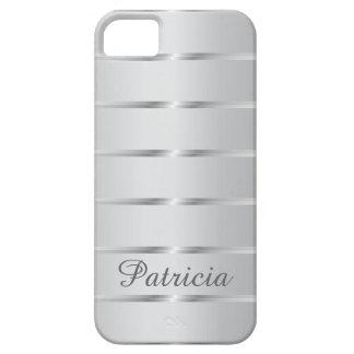 Funda Para iPhone SE/5/5s Nombre metálico de las rayas de los gris plateados