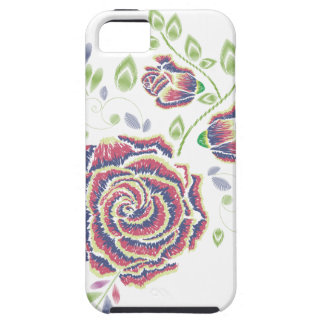 Funda Para iPhone SE/5/5s Ornamento color de rosa púrpura del bordado