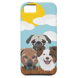 Funda Para iPhone SE/5/5s Perros afortunados del ilustracion en una cerca de