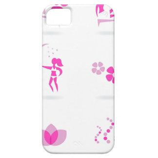 Funda Para iPhone SE/5/5s Rosa de los iconos de la salud en blanco