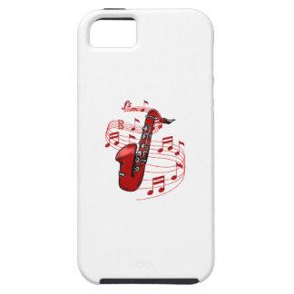 Funda Para iPhone SE/5/5s Saxofón rojo con las notas de la música