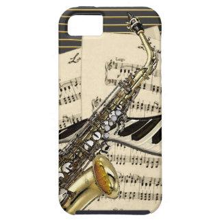 Funda Para iPhone SE/5/5s Saxofón y música del piano