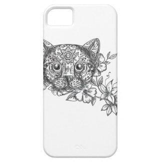 Funda Para iPhone SE/5/5s Tatuaje principal de la flor del jazmín del gato
