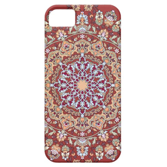 Funda Para iPhone SE/5/5s Tazhib del arte persa con fondo rojo mandala