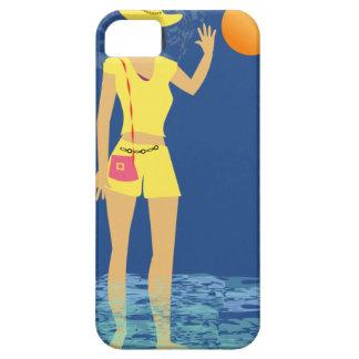 Funda Para iPhone SE/5/5s Vintage de la mujer de la playa