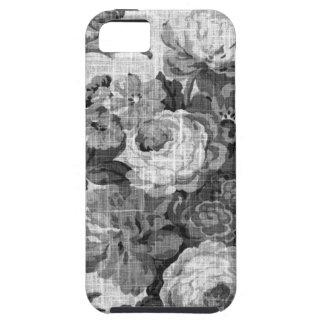 Funda Para iPhone SE/5/5s Vintage gris negro y blanco Toile floral No.4 del