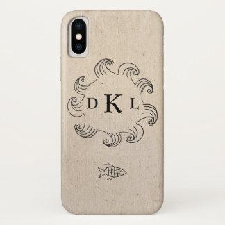 Funda Para iPhone X Afición con monograma del océano de la pesca