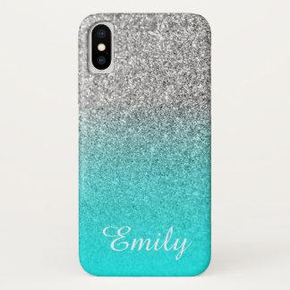 Funda Para iPhone X Aguamarina de plata Ombre del purpurina