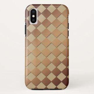 Funda Para iPhone X Ajedrez Brown de oro cuadrado