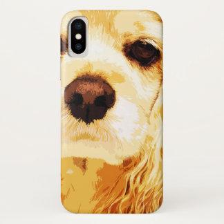Funda Para iPhone X americano amarillo moderno cocker spaniel
