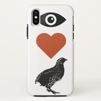 Funda Para iPhone X Amo el caso del iPhone de las codornices