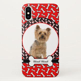 Funda Para iPhone X Añada el nombre de su perro y el hueso del rojo de