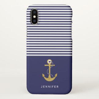 Funda Para iPhone X Ancla del oro, rayas blancas de los azules marinos