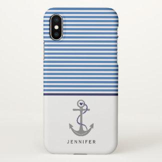 Funda Para iPhone X Ancla gris y marina de guerra azul de las rayas