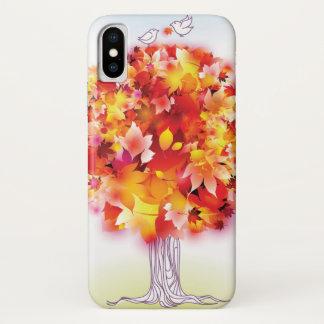 Funda Para iPhone X Árbol del otoño y pájaros lindos en amor
