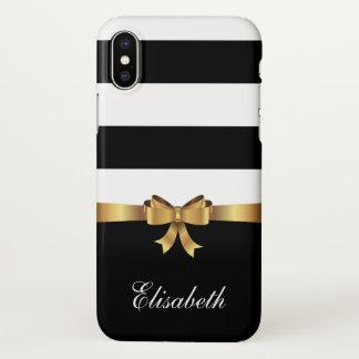 Funda Para iPhone X ARCO de oro de las rayas intrépidas negras