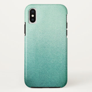 Funda Para iPhone X Arena Ombre del purpurina de la verde menta de la