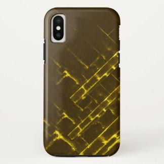 Funda Para iPhone X Armadura geométrica amarilla rústica del batik de