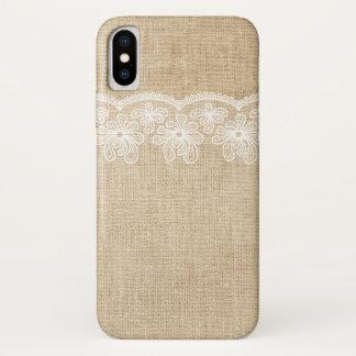 Funda Para iPhone X Arpillera y novia rústicas del cordón