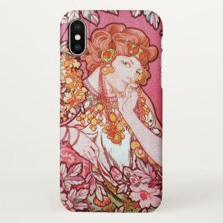 Funda Para iPhone X Arte Nouveau de la primavera de Alfonso Mucha